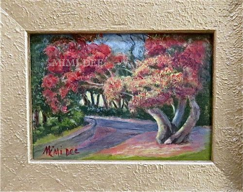 Signed Mimi Dee Original American Landscape Painting Tree Phillips