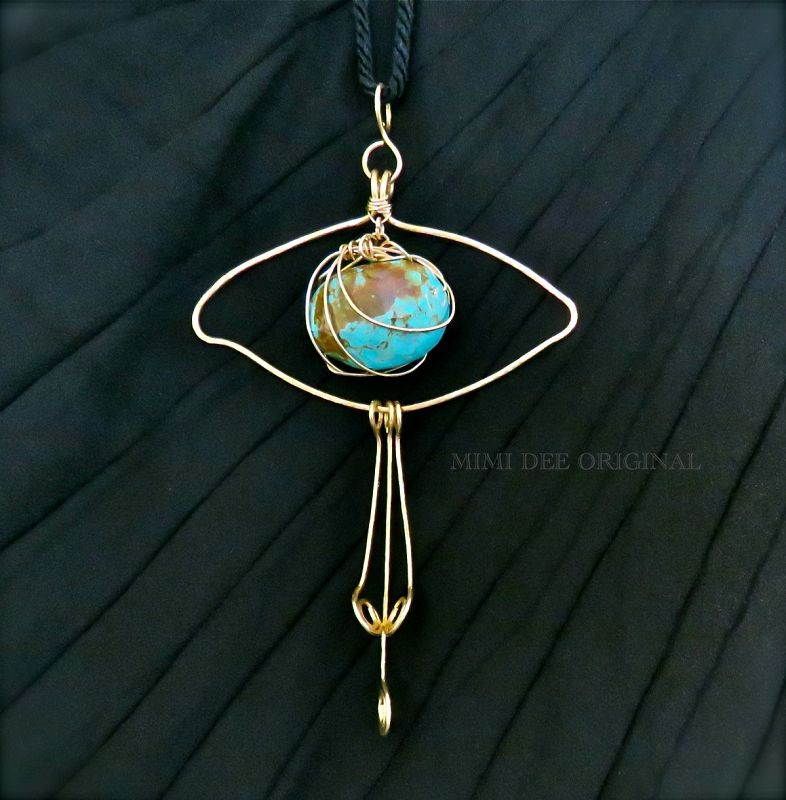 Signed Mimi Dee Studio Hammered Brass Eye Necklace Turquoise