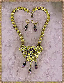 24K GP Necklace Book Chain Set Nouveau Victorian Like