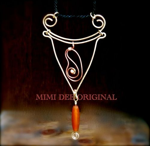 Signed Mimi Dee Studio Hammered Kinetic Sculpture Carved Carnelian