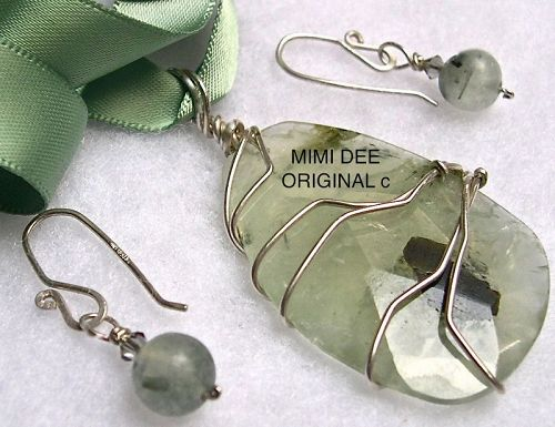 Signed Mimi Dee Sterling Green Rutilated Quartz 2pc Pendant Earrings