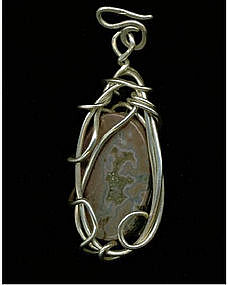 Signed Sterling Pendant Jasper Rose