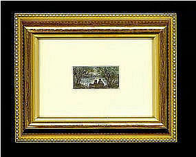 Signed American Micro Mini Watercolor Painting Marginal