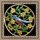 """Vintage Blue Bird Pin Brooch """"C"""" Enamel Gilt Brass"""