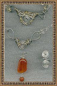 Signed Studio Sterling Necklace Earrings Demi Set Gems