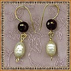 Singed Mimi Dee 14K Gold Earrings Amethyst Ivory Pearls Drop