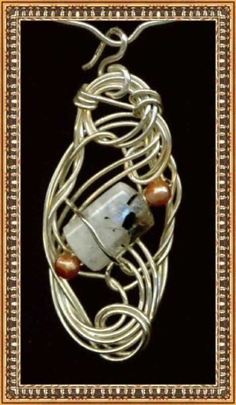Signed Sterling Silver Studio Sculpture Necklace Moonstone Pearls