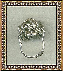 Studio Signed Sterling Silver Metalwork Woven Dome Ring