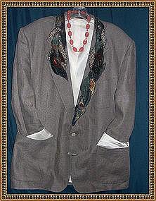 Linen Taupe Jacket Blazer Embellished Fabric Fiber Art