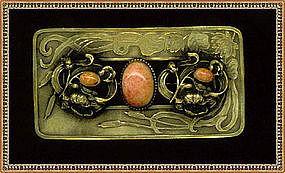 "Nouveau Sash Pin Coral Glass Stone ""C"" 1900"