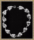 """Vintage Sterling Silver Danecraft Choker Necklace Leaf """"R"""""""