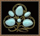 """Art Nouveau Brass Pin Brooch Blue Cabs Curly """"C"""""""