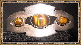 Vintage Mexican Sterling Silver Cuff Tiger Eye Cabs Assay 3