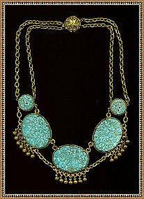 Art Deco Festoon Bib Turquoise Pierced Peking Glass