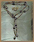 Signed Clip Long Rope Lariat Necklace Brown Glass Beads