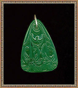Vintage Antique Green Art Glass Pendant Molded Lilly