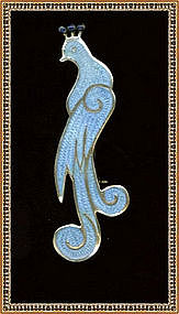 Enamel Blue Bird Pin Mexico Sterling Silver