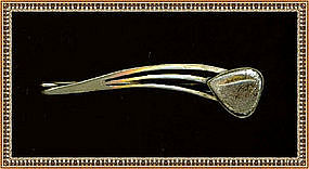 Modernist or Arts Crafts Unmarked Silver Pin Art Glass