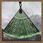 Etched Glass Drop Necklace Green Fan Art Deco
