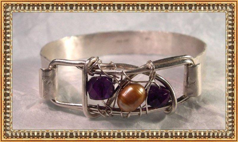 Signed Cuff Bracelet Hammered Sterling Silver