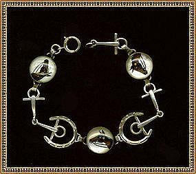 Vintage Reverse Painted Crystal Horse Sterling Bracelet