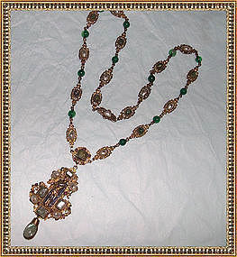 Signed W Antique Austro Hungarian Necklace Beryl Ruby Pearl