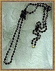 "Vintage Black Glass Beads Necklace 5ft  60"" Knotted ""Jet"" Rope"