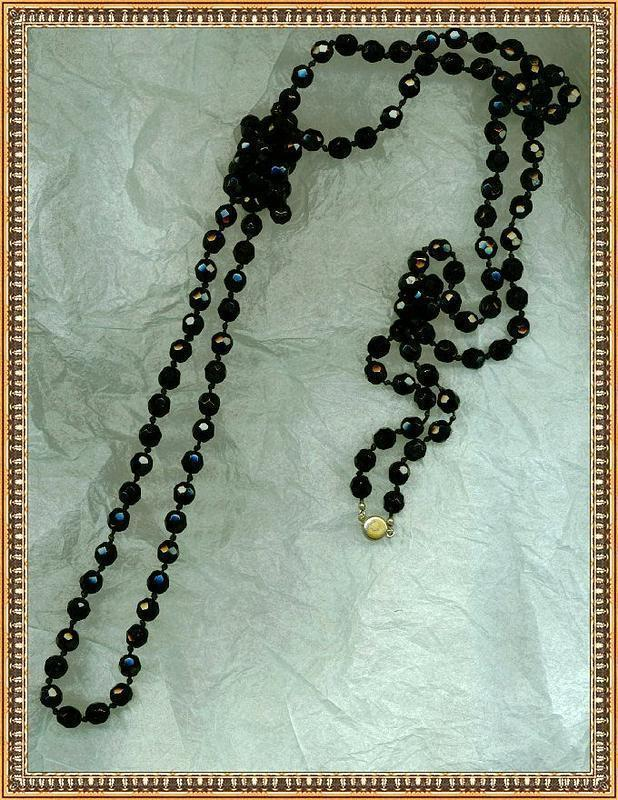 """Vintage Black Glass Beads Necklace 5ft  60"""" Knotted """"Jet"""" Rope"""
