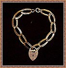 Vintage Antique Heart Lock Link Bracelet 12K gf