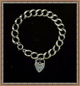 Etched Silver Heart Bracelet Link w Padlock Charm Early