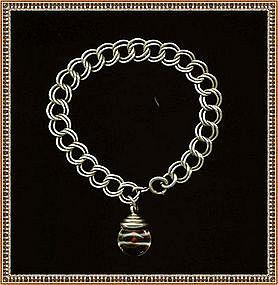 Vintage Signed Sterling  Bracelet Mustard Seed Charm