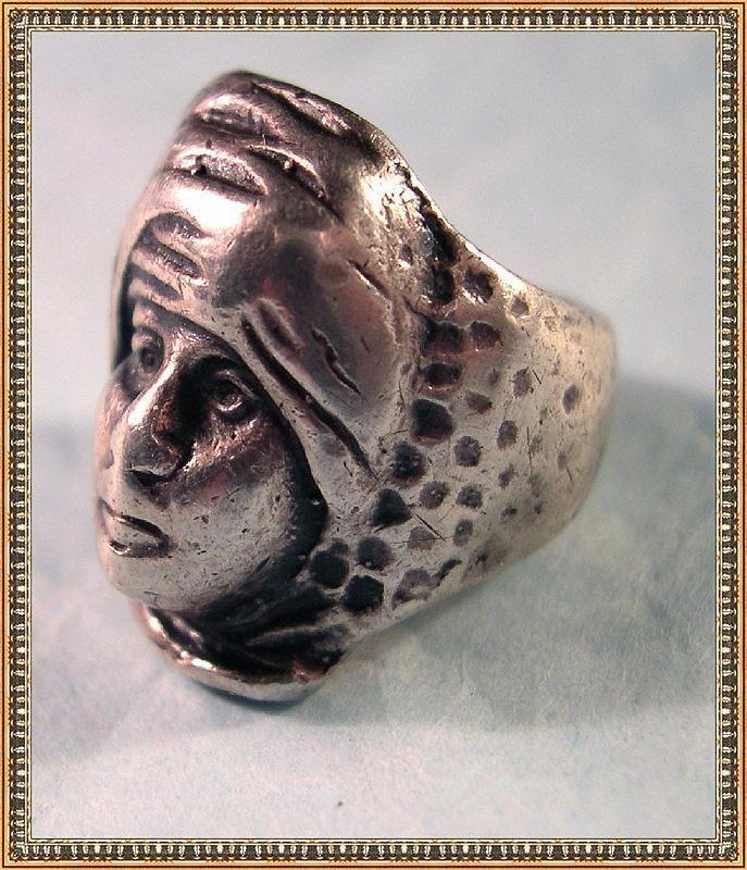 Vintage Signed G. Cini Sterling Silver Ring Turban Man