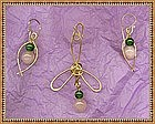 Signed Pendant Drop Earrings Set Rose Quartz Aventurine