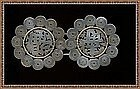 Vintage Signed Chinese 2pc Silver Buckle Zodiac Horoscope 36 Gram