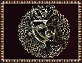 Marked Sterling Pin Filigree Theater Mask
