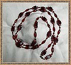 "Vintage Art Deco 50"" Long Knotted Red Glass Necklace Multi Cut Beads"