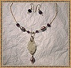 Signed Necklace Lavalier Light Pearls Amethyst Set