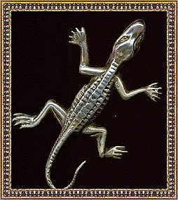 Vintage Sterling Silver Pin Brooch Figural Lizard Reptile Gekko