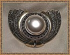 Vintage Mystery Mark Reward Signed Sterling Silver Brooch Marcasites