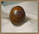 Vintage Signed Sterling Ring Large Agate Jasper Cab