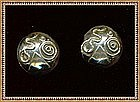 Vintage Signed Howison Dome Earrings Abstract Sterling
