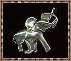 Vintage Sterling Elephant Pin Brooch with Trunk Up