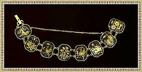 Amita Damascene Bracelet 8 Multi Figural Links Cranes