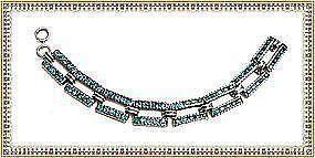 Vintage Leach Miller L&M Art Deco Sterling Silver Aqua Paste Bracelet