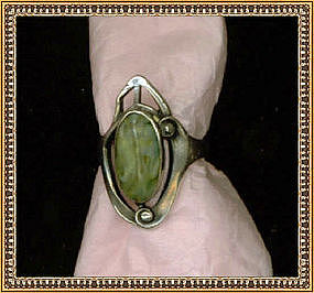 Quintessential Arts Crafts Sterling Silver Ring Green