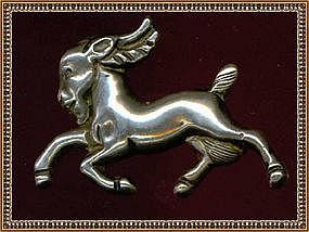 Vintage Mexico Silver Goat Pin Pheasant Bird Mark