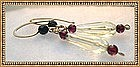 Signed 14K Gold Lemon Quartz Earrings Garnet Hammered