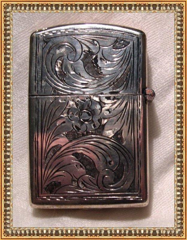Vintage Zippo Lighter 800 Silver Peruzzi Chased Case