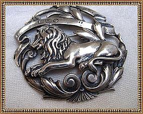 Vintage Peruzzi Sterling Silver Pin Brooch Lion Boston