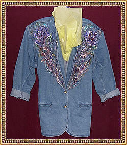 Hand Painted Blue Denim Jacket Blazer Multi Floral